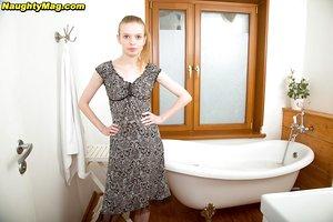 Skinny teenage Alexa sheds short dress for hairy beaver closeup in the bathroom