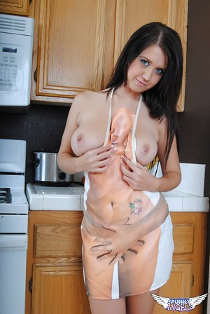 Teen first timer Chrissy Marie ditches her apron to model bare in the kitchen