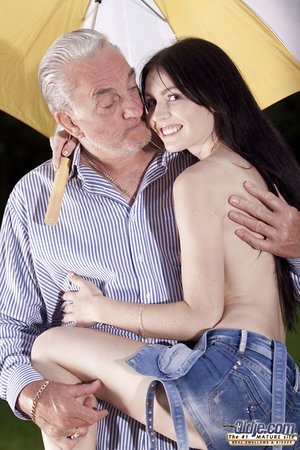 Lean chick in shorts ball licking senior and getting banged by oldman cock