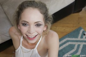 Teen girl Angel Smalls delivering ball sac sucking oral sex with clothes on