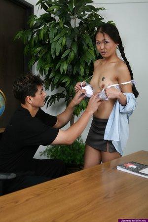 Asian schoolgirl fucks her teacher for a passing grade in white socks