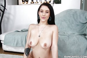 Young slut Noelle Easton spreads her shaved cunt for big cock