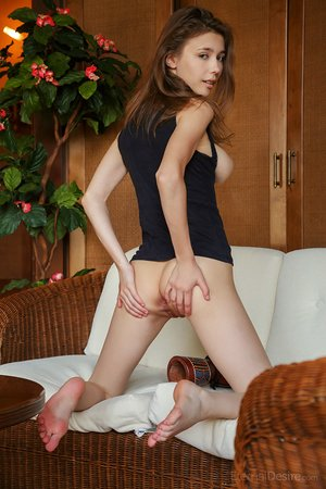 Horny slut Mila fingers her stretched snatch while demonstrating off her big tits