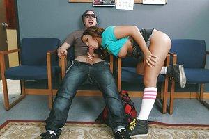 Latina schoolgirl Keisha Grey sucks big dick with nice under boobage glance