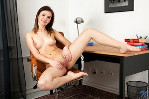 Coed office assistant Anata removes shorts & spreads shaved pussy at work