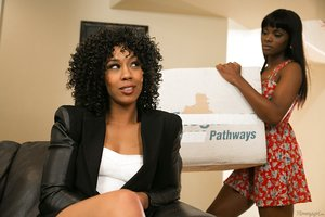 Hot black chicks Misty Stone and Ana Foxxx go girl on girl in a 69