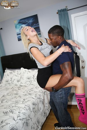 Cute towheaded teen Tiffany Watson fucks a BBC while her sissy of a bf watches on