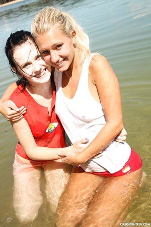 Nice Euro teens get naked at the beach and give lesbian sex a try