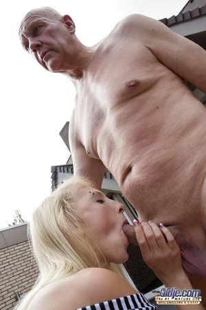 Skinny young girl with tiny tits gets naked outside to suck & fuck oldman cock