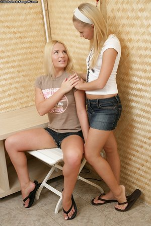 Hot young blondes licking nipples and toying with hitachi in lesbian sex fun