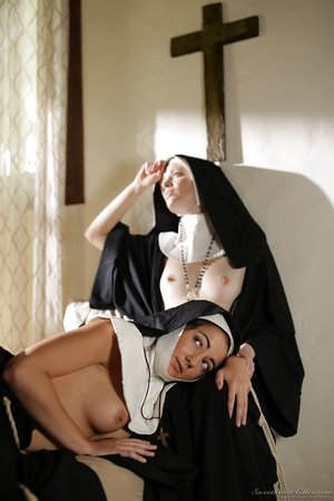 Young nun heads topless and sticks hr tongue out to a priest to atone her sins