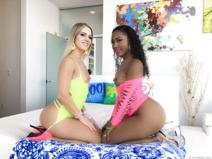 Candice Dare and Chanell Heart expose their butts during interracial shoot
