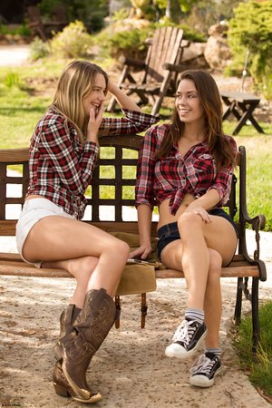 Hot lesbian girls Kenna & Madi Meadows fingering on bench outdoors naked