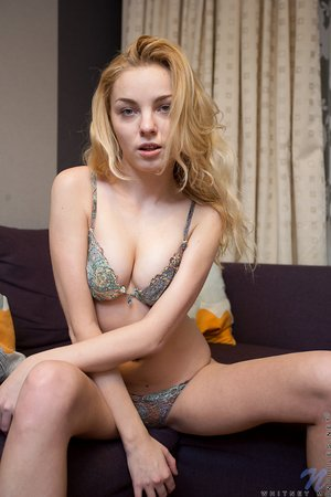 Beautiful first timer Whitney M takes off her dress to pose in her underthings