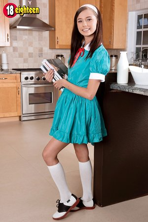 Teen college girl Carolina Sweets peels off uniform to show cunny in kitchen