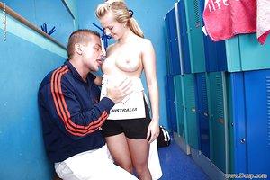 Blonde teen slut Bella Baby giving and receiving oral sex in locker room