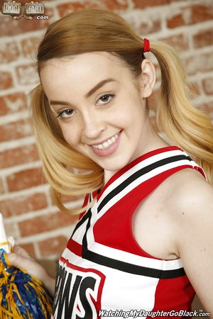 Hot blonde teenage cheerleader Alexia Gold likes to deep-throat on a bbc