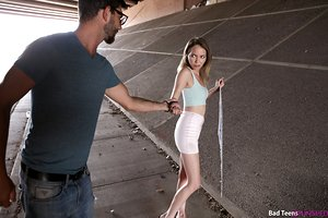 Broke teenage girl Angel Smalls sucks and fucks a ample dick to get thru the day