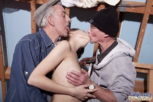 Naughty teen girl takes it in the ass while fucking 2 old man