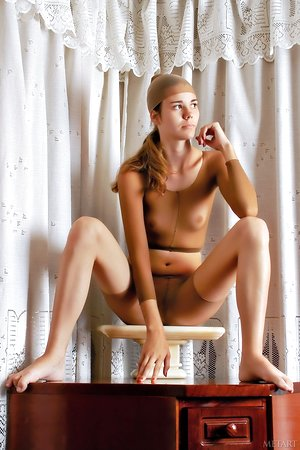 Beautiful solo model with Nicole E switches undergarments with nails painted red