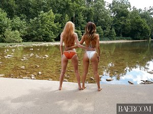 Super hot lesbian damsels shed their sexy swimsuits for some hot strapon & tribbing fun