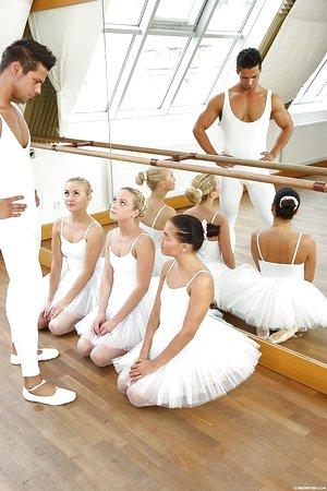 Teen ballerina Evelyn Dellai and gfs bang big dick in reverse gang-bang