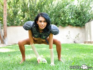 Tiny football fan Janice Griffith gets her ideal Latina pussy pounded