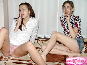 Sweet young lesbian girls flash their tiny knockers and perfect little asses