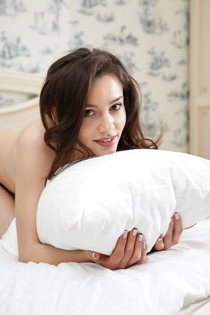 Stunning model with excellent body Adel Morel basking in her bed