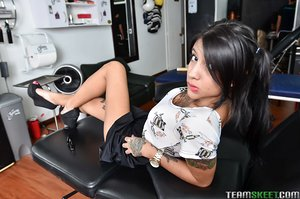 Latina cutie Mara baring lovely ass and taking selfies of tattooed body