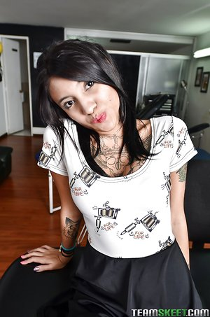 Tatted teen Mara loves showing off her tight tatted assets on camera