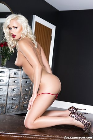 Astounding vixen Shannon Cole takes off luxurious red undergarments and poses nude