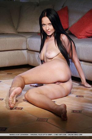 Horny Marica A with saggy tits sheds white undies to bare shaved pussy