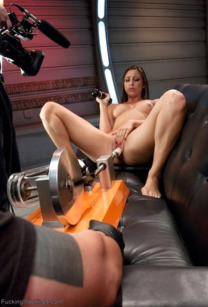 Horny damsel Rilynn Rae fucktoys her twat while getting penetrated by a hookup machine