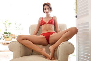 Skinny young model Ariela removes super hot crimson lingerie to display lil' jugs & ass