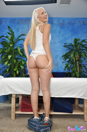 Legitimate yr old blonde gets lubricated up and banged by her devilish masseur