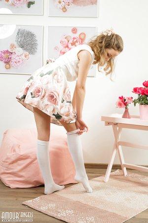 Youthfull cutie Faina sheds sun dress to show little teen body wearing knee socks