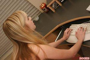 Sweet teen Jana Jordan in cotton panties taunting no bare at her desk
