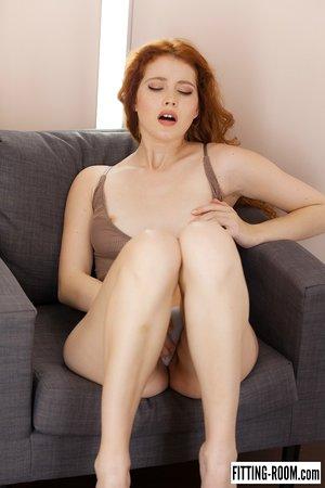 Natural redhead Heidi Rom masturbates while attempting on various lingerie items