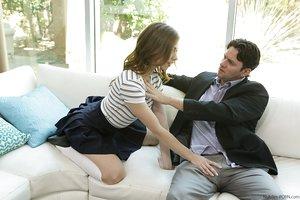 Youthfull whore Anya Olsen bangs her stepfather wearing white knee high socks