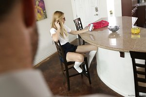 Lean teen student Alexa Grace gets a bare ass spanking for her poor grades