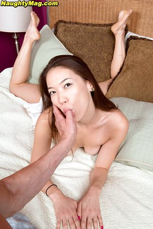 Asian bombshell Lily Starr teasing a guy in her sexy pink panties