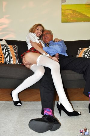 Naughty Hungarian chick Angel Hott dons school outfit for sex with an old man