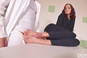 Beautiful Hungarian female Demetris and her doctor engage in sole play