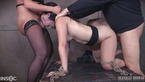 Tattooed Domination & submission babe Yhivi gets the strapon while deepthroating in rough session
