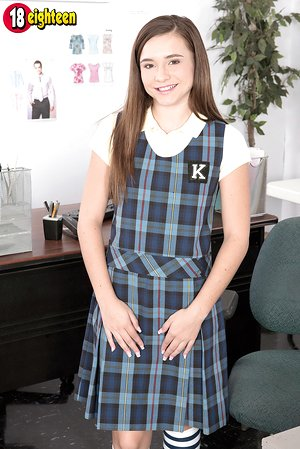18 year old schoolgirl Kharlie Stone catches teacher's eye with a panty flash