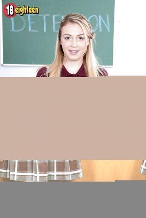 Legitimate year old schoolgirl Cali fucks her teacher in detention room on his desk