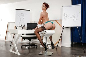 Sex ed teacher Jaye Summers poses in stockings after removing skirt and blouse