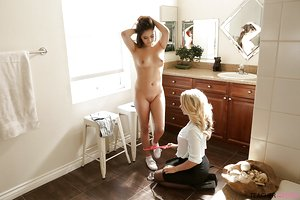 Hot older blonde Alexis Monroe coercing teen girl Lucy Doll into getting nude