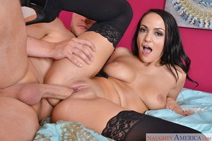 Dark haired housewife Sofi Ryan drags a passerby inside and fucks him foolish